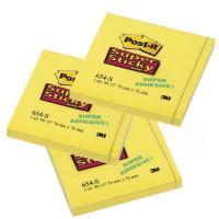 654-S Стикеры Post-it® суперклейкие, цвет неоновый желтый, 76х76мм, 90 листов