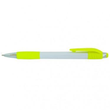 Авторучка шариковая, белый непрозрачный корпус, желтые детали 6