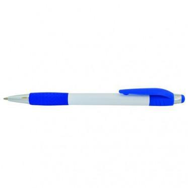 Авторучка шариковая, белый непрозрачный корпус, синие детали|1