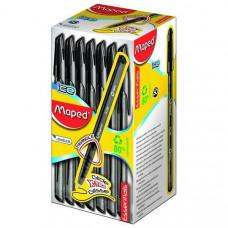 GREEN ICE Ручка шариковая одноразовая, низкотекучие чернила, средняя толщина линии - 0,6мм, треугольный полупрозрачный корпус с отделкой под карбон, 80% переработанного пластика,  черная